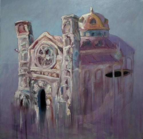 Cattedrale. Pigmenti emulsionati per la pittura a olio su tela. Cristiano Quagliozzi 2017
