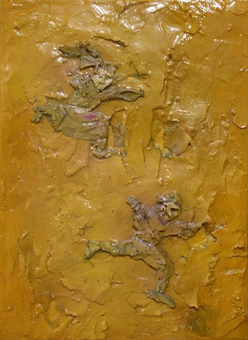 Bambini si rincorrono nel giallo. Tecnica mista su tela. Cristiano Quagliozzi 2017 (collezione privata)