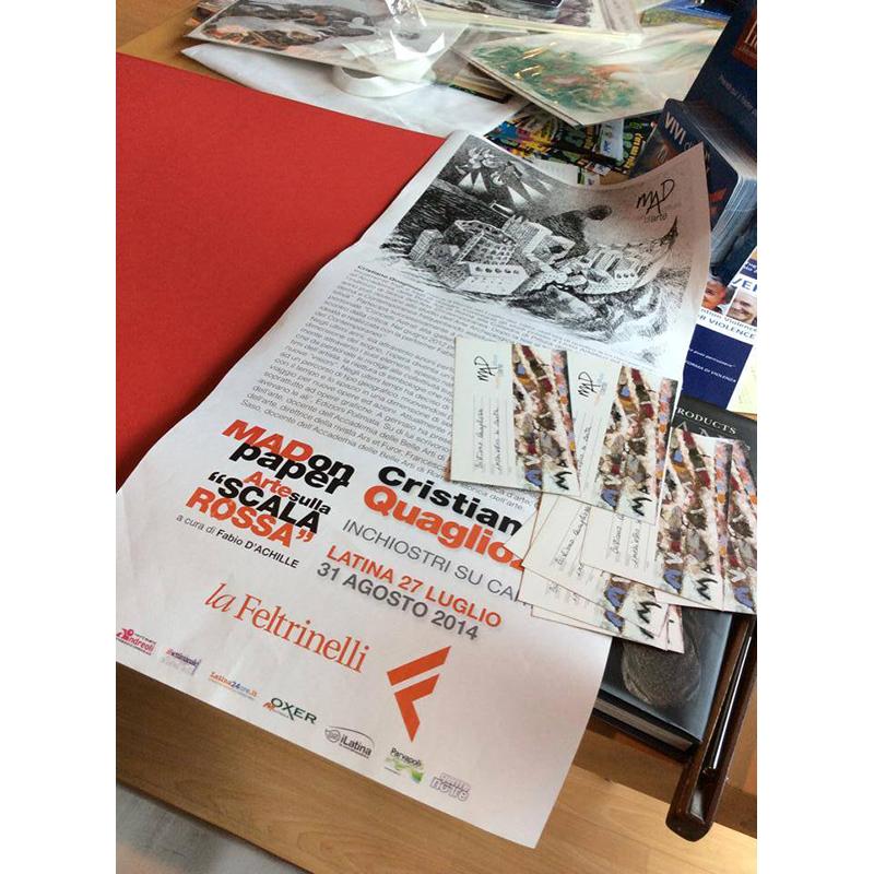 Mostra Opere su carta di Cristiano Quagliozzi. Libreria feltrinelli di Latina. Agosto 2014