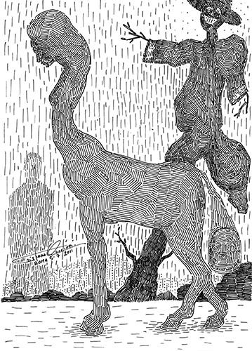 """Disegno contenuto nel libro """"Quando gli uomini non avevano le ali, racconti visivi di Cristiano Quagliozzi"""" Polìmata edizioni"""