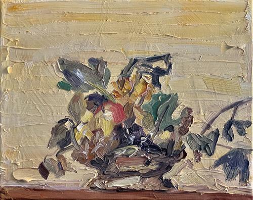 Dipinto a olio di Cristiano Quagliozzi ispirato a cesto di frutta di caravaggio