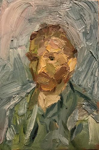 Dipinto a olio di Cristiano Quagliozzi ispirato all'autoritratto di Van Gogh