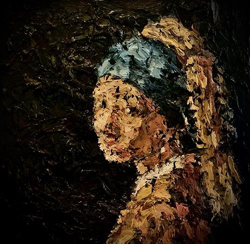 Dipinto a olio ispirato alla Ragazza con l'orecchino di Perla di Vermer. Cristiano Quagliozzi 2019 (collezione privata)