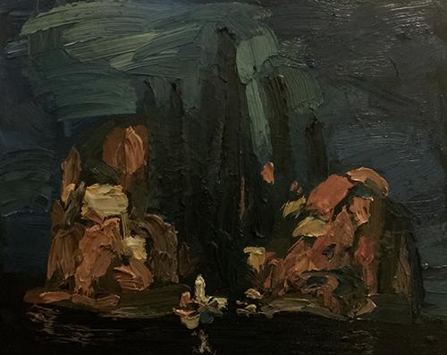 Dipinto a olio di Cristiano Quagliozzi Ispirato all'isola dei morti di Bocklin