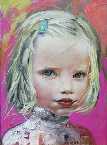 Bambina. Pigmenti emulsionati per la pittura a olio su tela. Roma 2017 (collezione privata)
