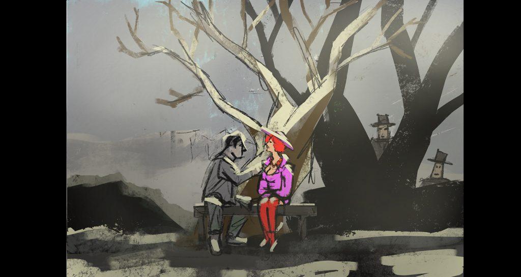 Atto 1 scena: Alfred Ill e Claire Zachanassian nel bosco