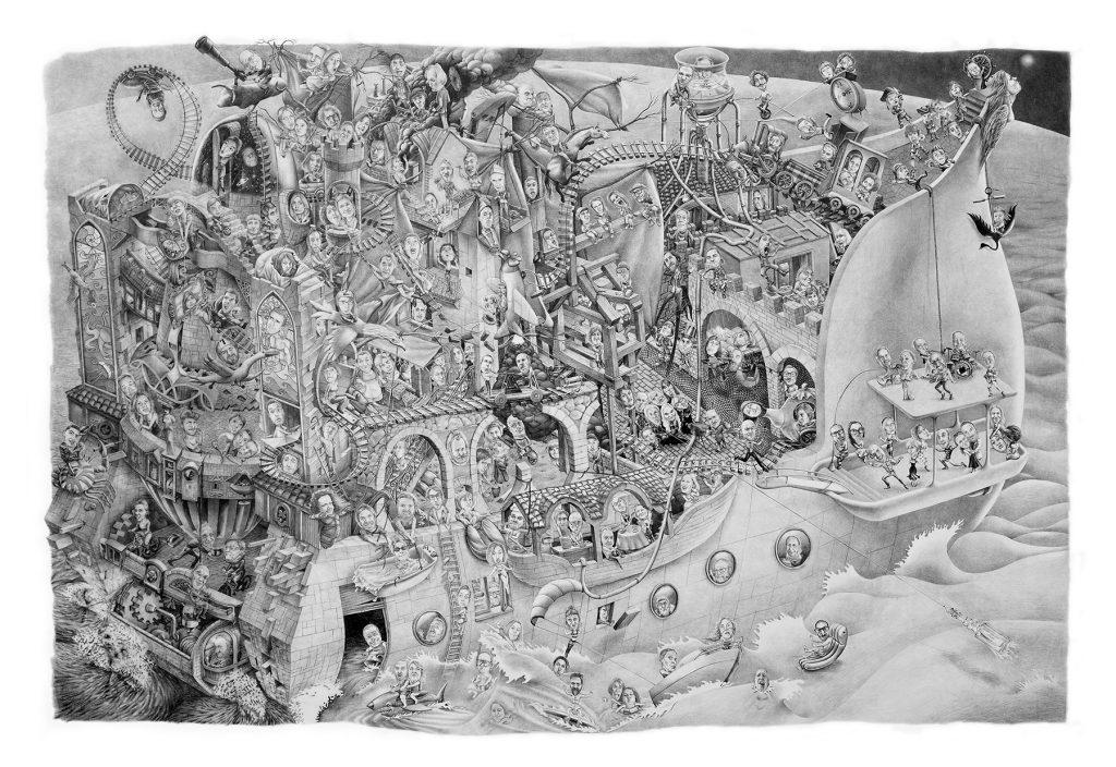 Arca, Grafite su tela cm 200x300.  di Cristiano Quagliozzi e Milena Scardigno, Roma 2017 2017