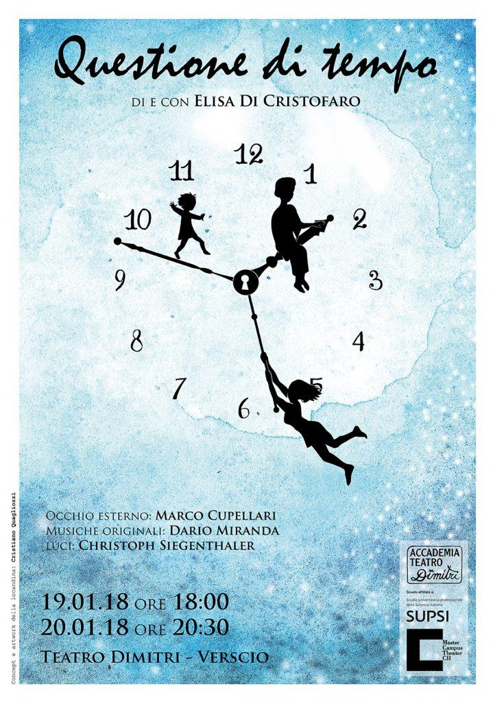 Disegno di Cristiano Quagliozzi per la locandina dello spettacolo, questione di tempo, di Elisa di Cristofaro