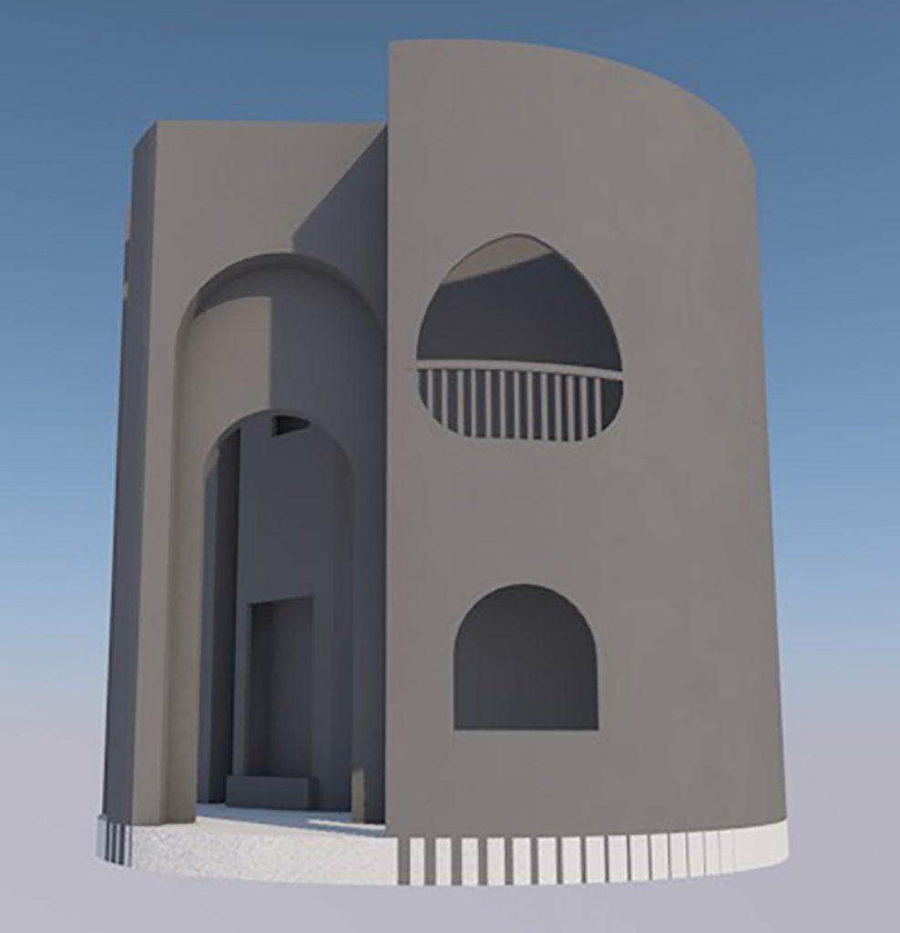 Rendering di lavorazione 3D di elemento scenografico: girevole
