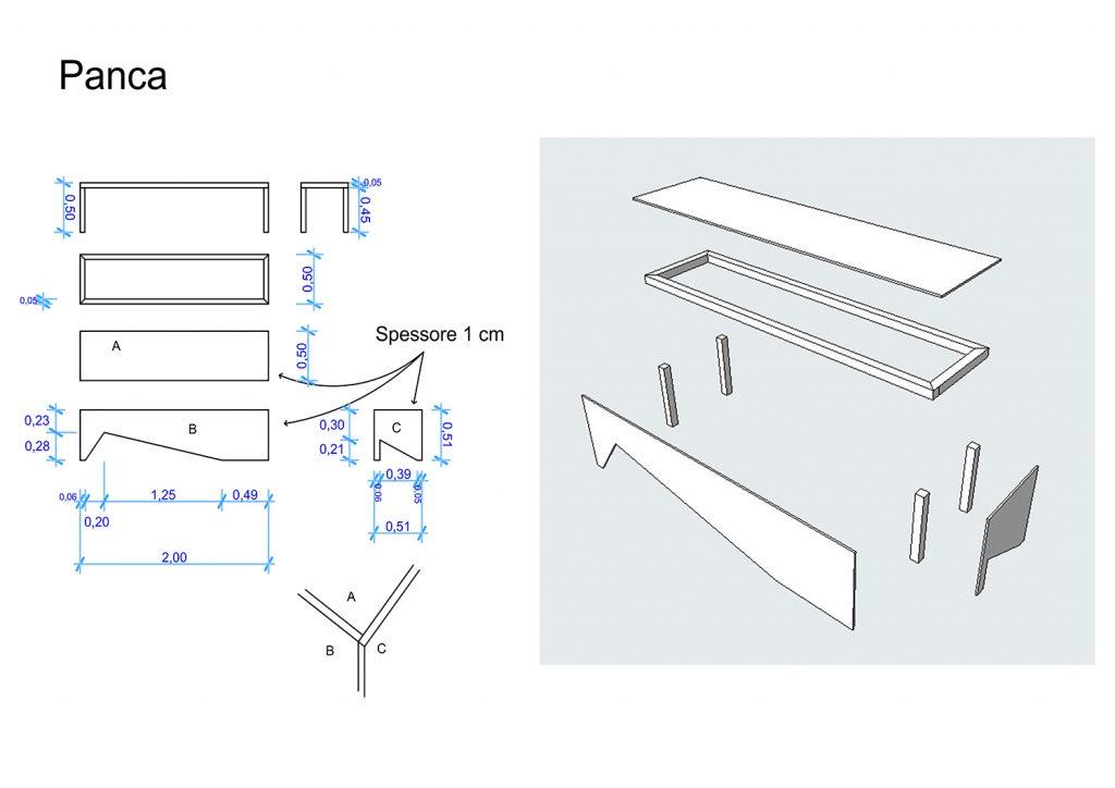 Sviluppo per la costruzione della panca/panchina di Alfred e Claire