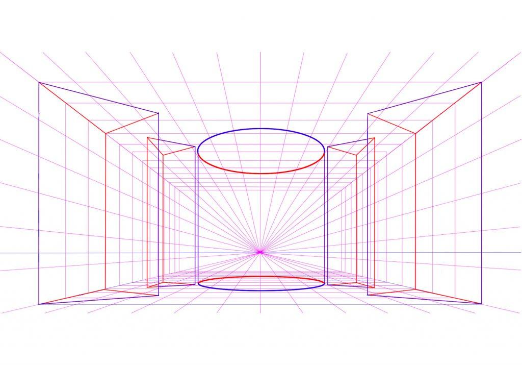 Prospettiva centrale con poligoni