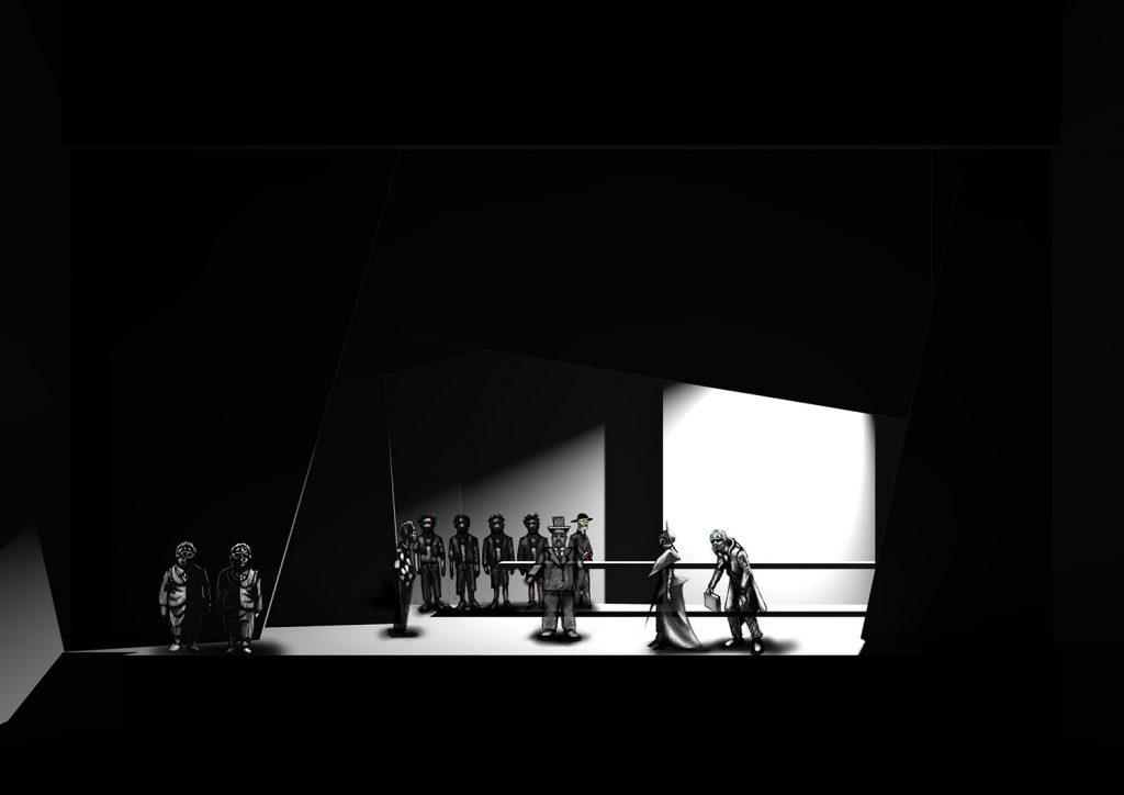 Scena 3: Apostolo d'oro (interno) rendering più personaggi