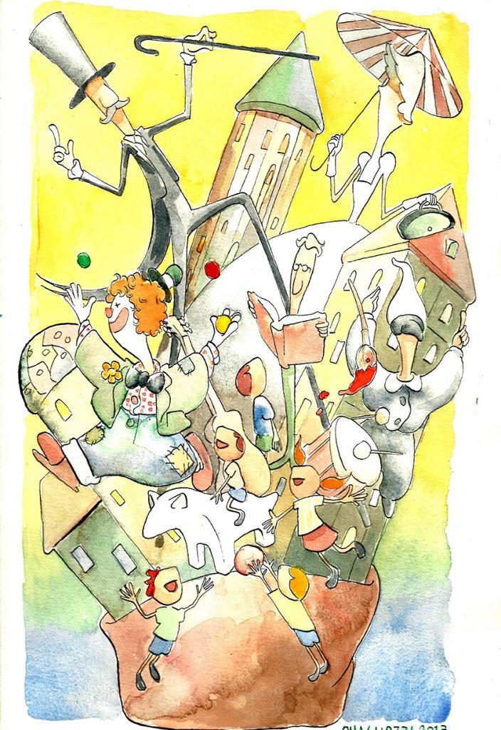 Disegno di Cristiano Quagliozzi per la locandina per La Città in Tasca
