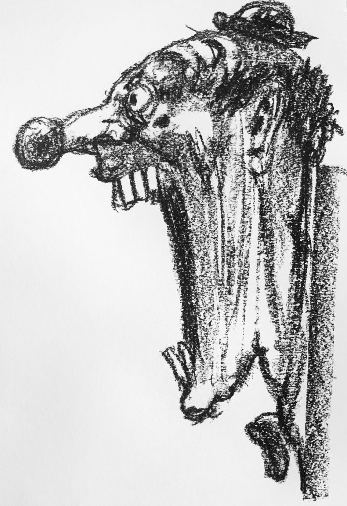 Clown Profilo Carboncino Su Carta.